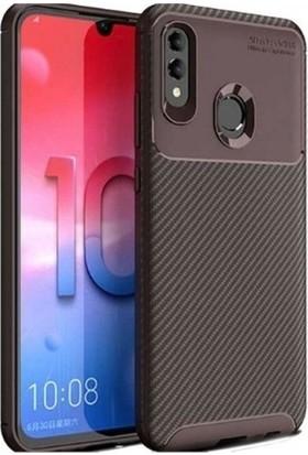 Magazabu Huawei Y7 Prime 2019 Karbon Desenli Lux Negro Silikon Kılıf Kahverengi + Nano Ekran Koruyucu
