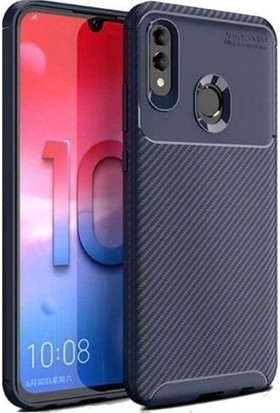 Magazabu Huawei Y7 Prime 2019 Karbon Desenli Lux Negro Silikon Kılıf Lacivert + Nano Ekran Koruyucu