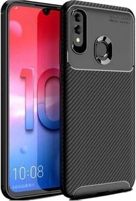 Magazabu Huawei Y7 Prime 2019 Karbon Desenli Lux Negro Silikon Kılıf Siyah + Nano Ekran Koruyucu