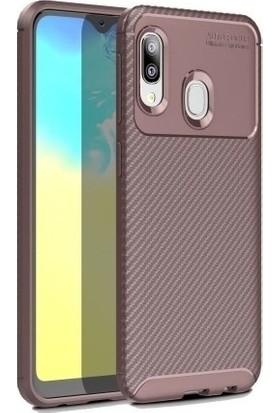 Magazabu Samsung Galaxy A20E Karbon Desenli Lux Negro Silikon Kılıf Kahverengi + Cam Ekran Koruyucu