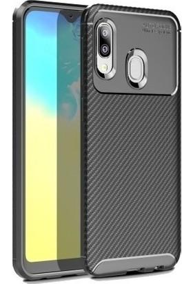 Magazabu Samsung Galaxy A20E Karbon Desenli Lux Negro Silikon Kılıf Siyah + Cam Ekran Koruyucu