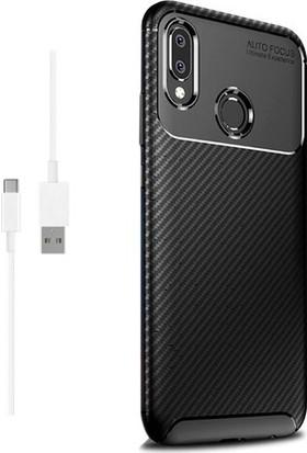 Magazabu Samsung Galaxy A40 Karbon Desenli Lux Negro Silikon Kılıf Siyah + Şarj Kablosu + Cam Ekran Koruyucu