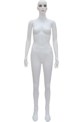 Vitrin Mankeni, Bayan Boy Mankeni, Makyajlı Plastik Beyaz - Manken
