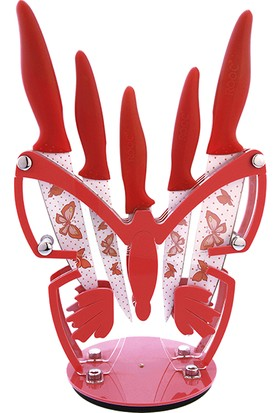 Rooc KB-1505 Kelebek Akrilik 6 Parça Bıçak Seti Kırmızı