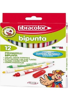Fibracolor Bipunta Kalın+İnce Çift Uçlu Keçeli Kalem 12 Renk