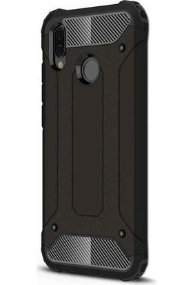 Casestore Huawei Y7 2019 Kılıf Çift Katmanlı Ultra Kılıf + 3D Tam Kaplayan Cam Siyah