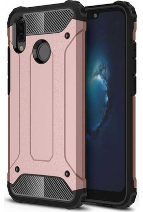 Ehr. Huawei P Smart Z Kılıf Çift Katmanlı Ultra Kılıf + 3D Tam Kaplayan Cam Rose Gold