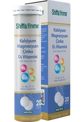 Shiffa Home Kalsiyum Magnezyum Çinko D3 Vitamini 20 Tablet