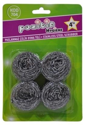 Pozitif Hygiene Paslanmaz Çelik Ovma Teli 4'lü 10 Paket