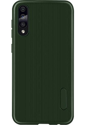 DVR Samsung Galaxy A70 Kılıf Tio Silikon Darbe Emici + Tam Ekran Cam Koruyucu Yeşil