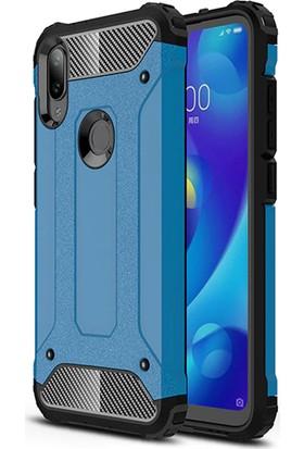 DVR Xiaomi Mi Play Kılıf Çift Katmanlı Crash Tank Kapak Darbe Korumalı + Tam Ekran Cam Koruyucu Mavi