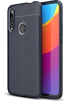 Teleplus Huawei P Smart Z Kılıf Deri Dokulu Silikon Lacivert + Nano Ekran Koruyucu