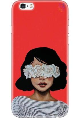 Wolf Dizayn Apple iPhone 6 /6s Kırmızı Silikon Kılıf-White Rose Girl