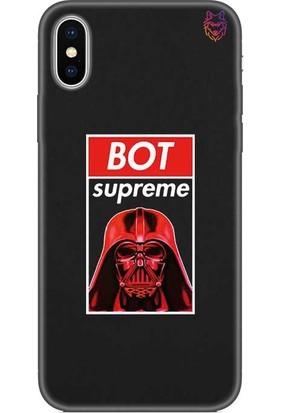 Wolf Dizayn Apple iPhone X/Xs Siyah Silikon Kılıf -Bot Supreme