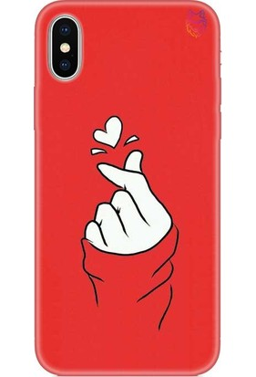 Wolf Dizayn Apple iPhone X/Xs Kırmızı Silikon Kılıf -BTS Love