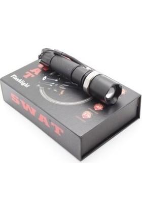 Yopigo Swat KM-110 Profesyonel Şarjlı El Feneri Ledli+Flashlight+Zoom Özellikli+Tüfek Aparatı 6 Parça Full Set