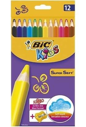 Bic Kids Supersoft Yumuşak Kuru Boya Kalemi 12 Renk + Jumbo Kalemtraş