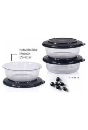 Tupperware Kristal Kase 275ML Siyah Kapak 3lü