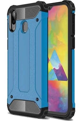 Ehr. Samsung Galaxy M30 Kılıf Çift Katmanlı Ultra Kılıf + 3D Tam Kaplayan Cam Mavi