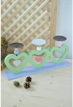 Sepetçi Baba 3'lü Kalp Mumluk Yeşil