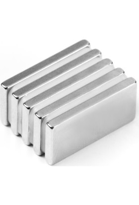 Dünya Magner Neodyum Mıknatıs 5'li 20 x 10 x 3 mm Süper Güçlü Magnet