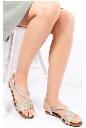 Tarçın Deri Gold Günlük Kadın Sandalet Ayakkabı Trc153-0014