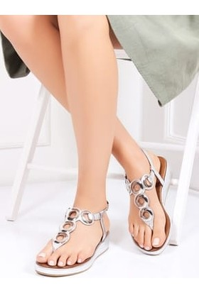 Tarçın Deri Gümüş Günlük Kadın Sandalet Ayakkabı Trc153-0021