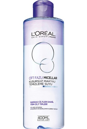 L'Oréal Paris Çift Fazlı Micellar Kusursuz Makyaj Temizleme Suyu