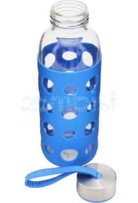 Pakiş Silikon Kılıflı Cam Matara 400ml - Mavi