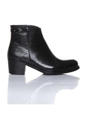 Tarçın Hakiki Deri Siyah Engerek Günlük Kadın Topuklu Bot Trc101-2051
