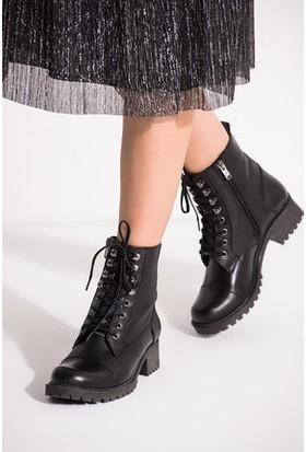 Tarçın Hakiki Deri Siyah Günlük Kadın Topuklu Bot Trc49-1082
