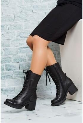 Tarçın Hakiki Deri Siyah Günlük Kadın Topuklu Bot Trc49-1561