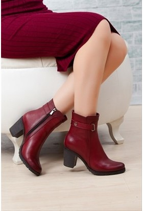 Tarçın Hakiki Deri Bordo Günlük Kadın Topuklu Bot Trc49-3763