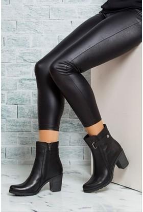 Tarçın Hakiki Deri Siyah Günlük Kadın Topuklu Bot Trc49-3763