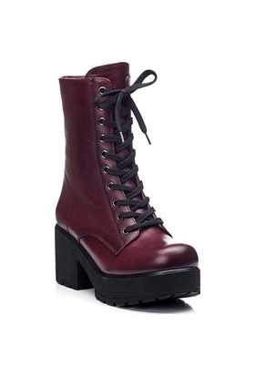 Tarçın Hakiki Deri Bordo Günlük Kadın Topuklu Bot Trc49-46352