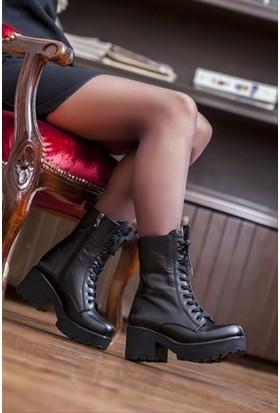 Tarçın Hakiki Deri Siyah Günlük Kadın Topuklu Bot Trc49-46352