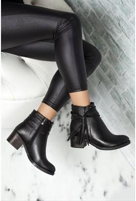 Tarçın Hakiki Deri Siyah Günlük Kadın Topuklu Bot Trc49-W016