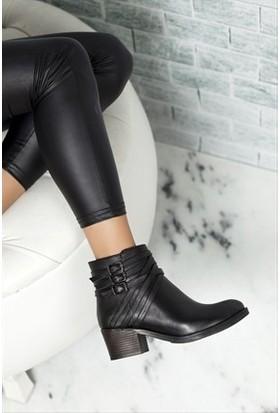 Tarçın Hakiki Deri Siyah Günlük Kadın Topuklu Bot Trc49-W018