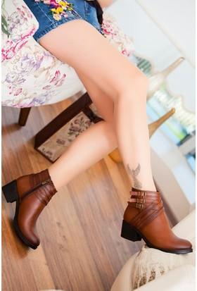Tarçın Hakiki Deri Taba Günlük Kadın Topuklu Bot Trc49-W018
