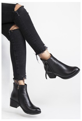 Tarçın Hakiki Deri Siyah Günlük Kadın Topuklu Bot Trc49-W020