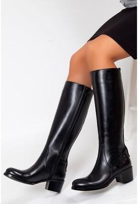 Tarçın Hakiki Deri Siyah Günlük Kadın Topuklu Çizme Trc101-2063