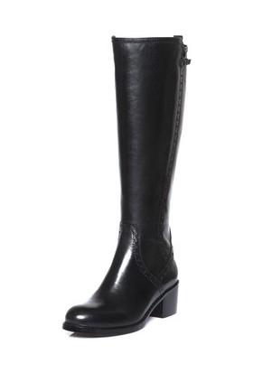 Tarçın Hakiki Deri Siyah Günlük Kadın Topuklu Çizme Trc101-2064