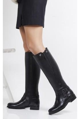 Tarçın Hakiki Deri Siyah Günlük Kadın Topuklu Çizme Trc101-2120