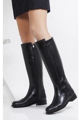 Tarçın Hakiki Deri Siyah Günlük Kadın Topuklu Çizme Trc101-2126