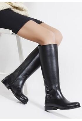 Tarçın Hakiki Deri Siyah Günlük Kadın Topuklu Çizme Trc101-2142
