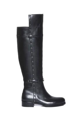 Tarçın Hakiki Deri Siyah Günlük Kadın Topuklu Çizme Trc101-2156