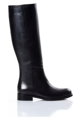 Tarçın Hakiki Deri Siyah Günlük Kadın Topuklu Çizme Trc101-2165