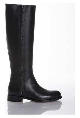 Tarçın Hakiki Deri Siyah Günlük Kadın Topuklu Çizme Trc101-2677