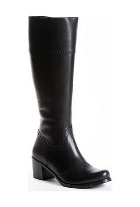 Tarçın Hakiki Deri Siyah Günlük Kadın Topuklu Çizme Trc101-2755