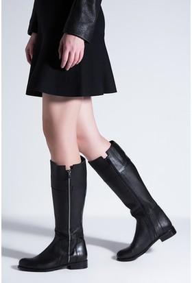 Tarçın Hakiki Deri Siyah Günlük Kadın Topuklu Çizme Trc102-1066